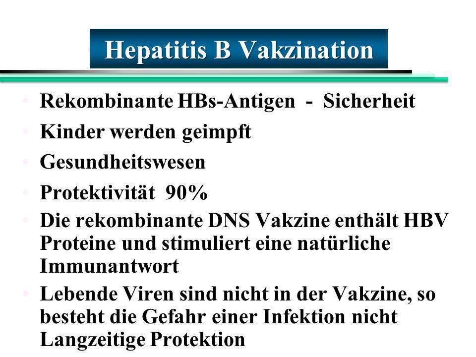 Hepatitis B Vakzination Rekombinante HBs-Antigen - Sicherheit Kinder werden geimpft Gesundheitswesen Protektivität 90% Die rekombinante DNS Vakzine en