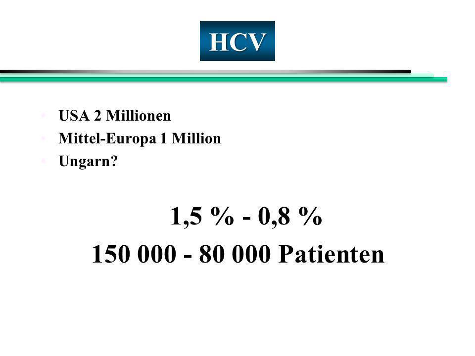 HCV USA 2 Millionen Mittel-Europa 1 Million Ungarn? 1,5 % - 0,8 % 150 000 - 80 000 Patienten
