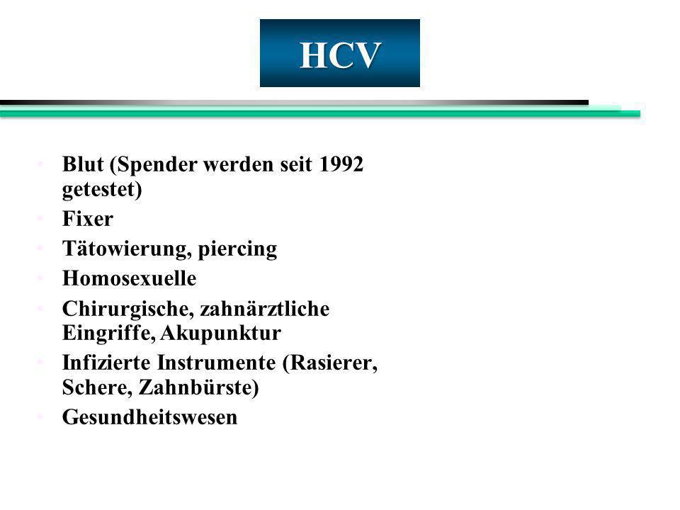 HCV Blut (Spender werden seit 1992 getestet) Fixer Tätowierung, piercing Homosexuelle Chirurgische, zahnärztliche Eingriffe, Akupunktur Infizierte Ins