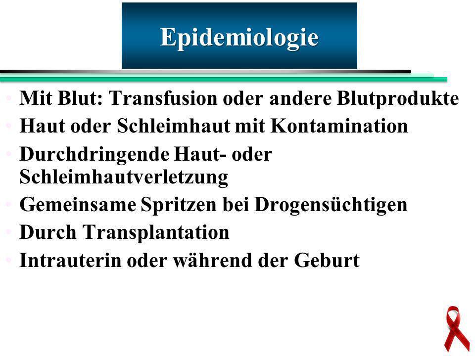 Mit Blut: Transfusion oder andere Blutprodukte Haut oder Schleimhaut mit Kontamination Durchdringende Haut- oder Schleimhautverletzung Gemeinsame Spri