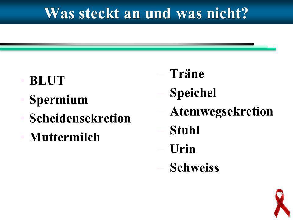 Was steckt an und was nicht? BLUT Spermium Scheidensekretion Muttermilch – Träne – Speichel – Atemwegsekretion – Stuhl – Urin – Schweiss