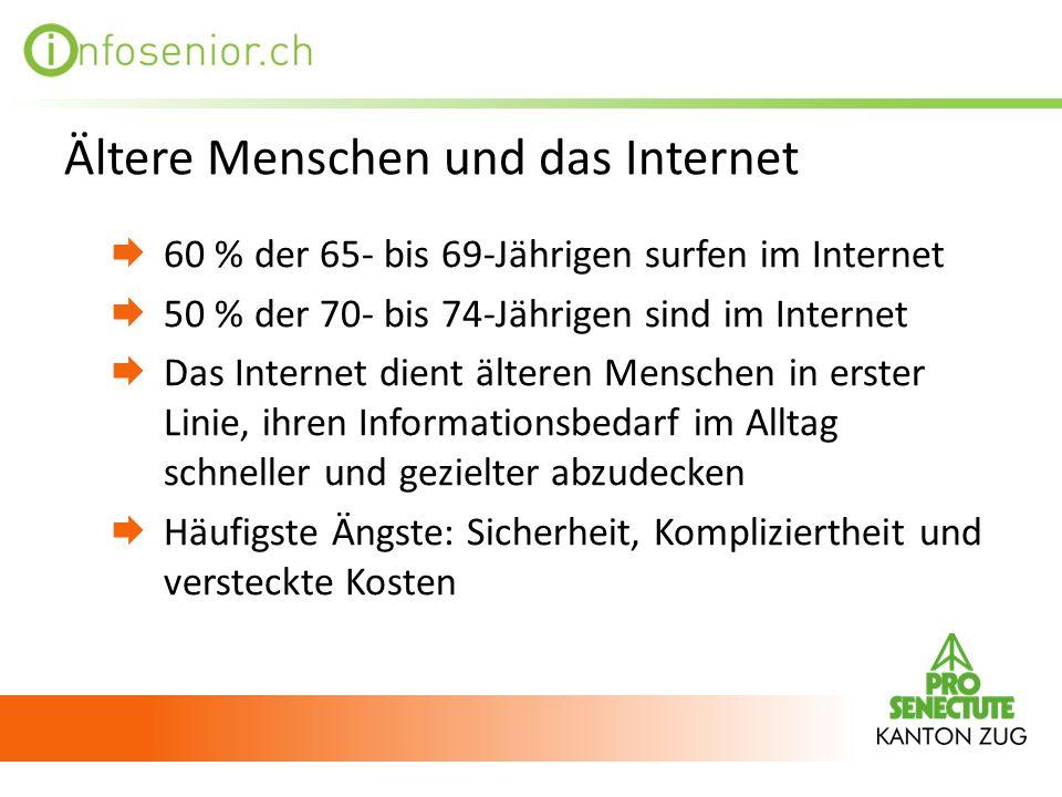 Ältere Menschen und das Internet 60 % der 65- bis 69-Jährigen surfen im Internet 50 % der 70- bis 74-Jährigen sind im Internet Das Internet dient älte