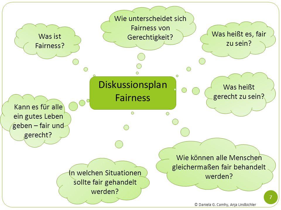 7 Diskussionsplan Fairness Was ist Fairness? Was heißt es, fair zu sein? Wie können alle Menschen gleichermaßen fair behandelt werden? In welchen Situ