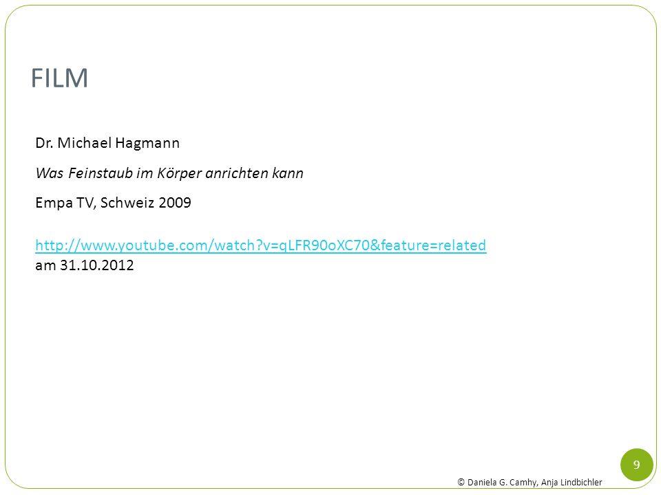 FILM 9 Dr. Michael Hagmann Was Feinstaub im Körper anrichten kann Empa TV, Schweiz 2009 http://www.youtube.com/watch?v=qLFR90oXC70&feature=related am