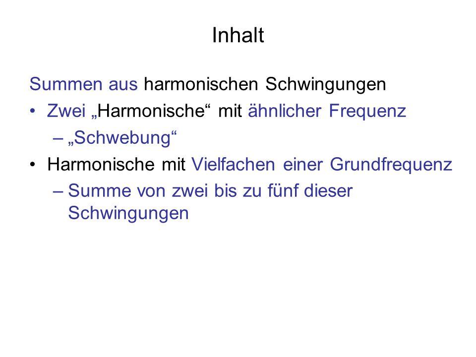 Inhalt Summen aus harmonischen Schwingungen Zwei Harmonische mit ähnlicher Frequenz –Schwebung Harmonische mit Vielfachen einer Grundfrequenz –Summe v