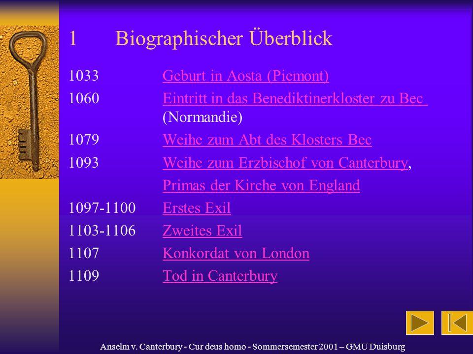 Anselm v. Canterbury - Cur deus homo - Sommersemester 2001 – GMU Duisburg 1Biographischer Überblick 1033Geburt in Aosta (Piemont)Geburt in Aosta (Piem