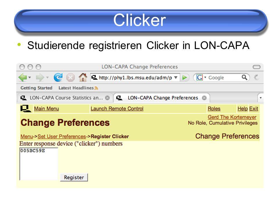 Clicker Studierende registrieren Clicker in LON-CAPA