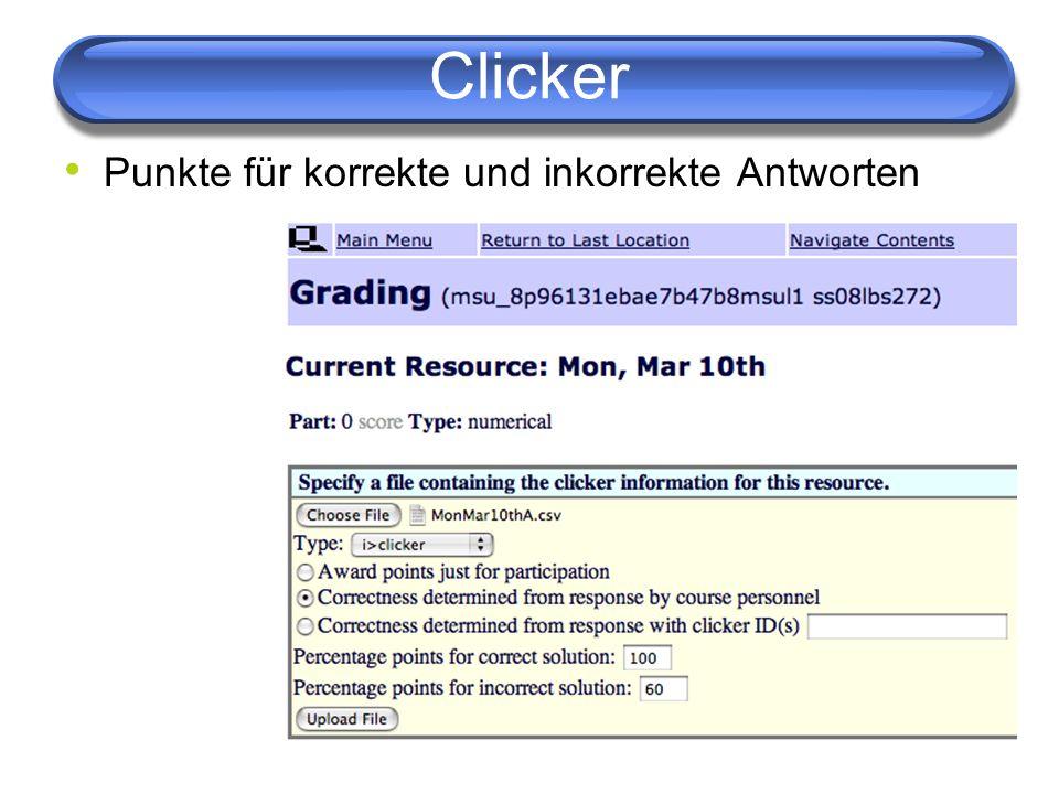 Clicker Punkte für korrekte und inkorrekte Antworten