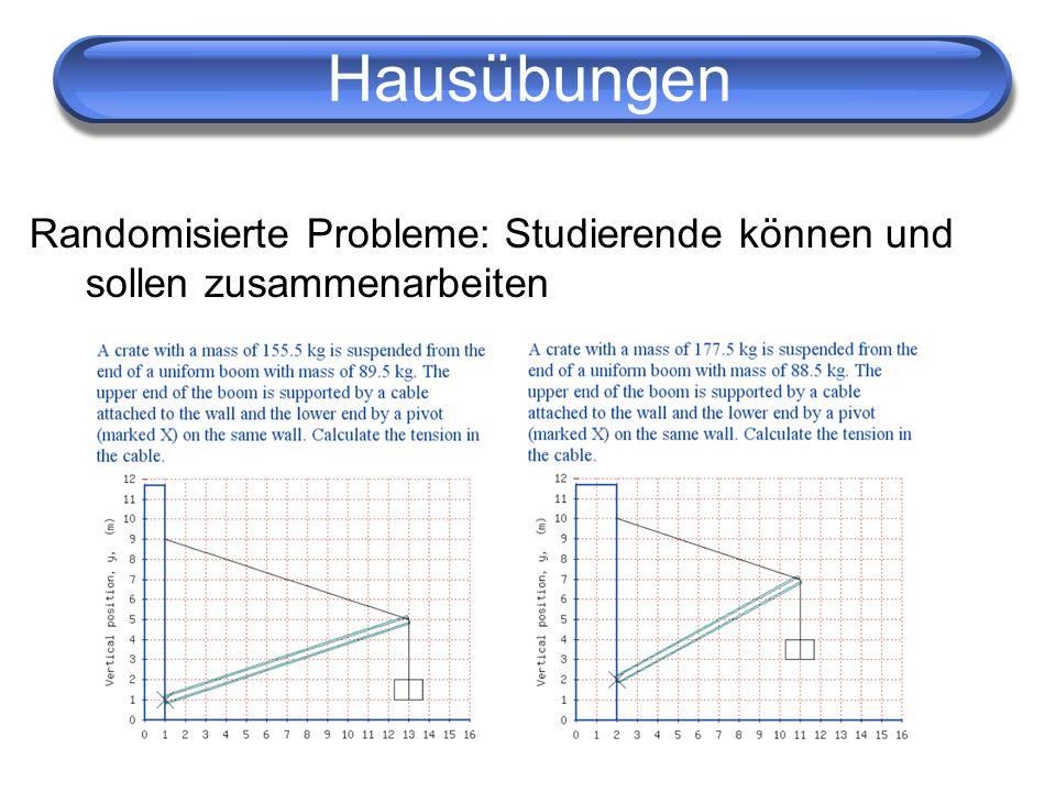 Randomisierte Probleme: Studierende können und sollen zusammenarbeiten Hausübungen