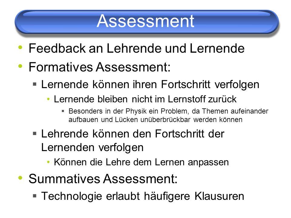 Assessment Feedback an Lehrende und Lernende Formatives Assessment: Lernende können ihren Fortschritt verfolgen Lernende bleiben nicht im Lernstoff zu