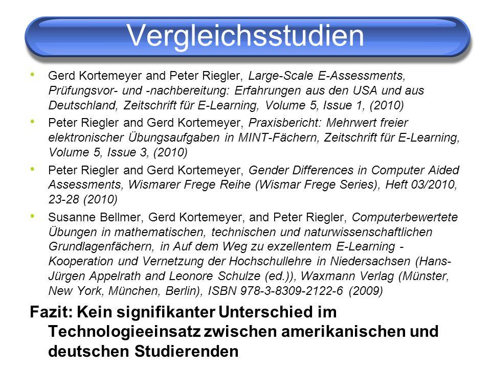 Vergleichsstudien Gerd Kortemeyer and Peter Riegler, Large-Scale E-Assessments, Prüfungsvor- und -nachbereitung: Erfahrungen aus den USA und aus Deuts