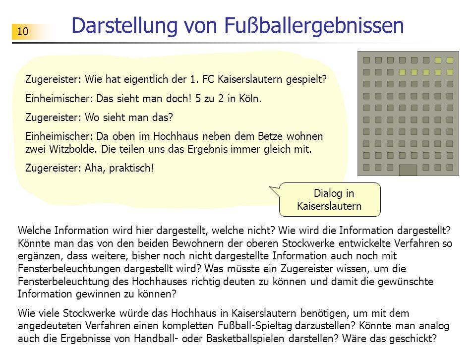 10 Darstellung von Fußballergebnissen Zugereister: Wie hat eigentlich der 1. FC Kaiserslautern gespielt? Einheimischer: Das sieht man doch! 5 zu 2 in
