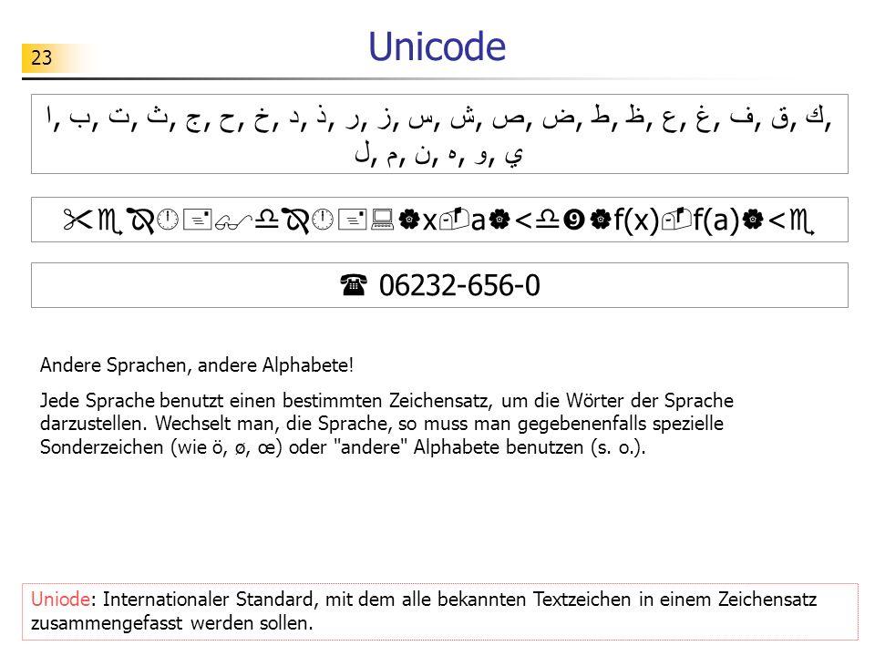 23 Unicode ا, ب, ت, ث, ج, ح, خ, د, ذ, ر, ز, س, ش, ص, ض, ط, ظ, ع, غ, ف, ق, ك, ل, م, ن, ه, و, ي x a < f(x) f(a) < 06232-656-0 Uniode: Internationaler St