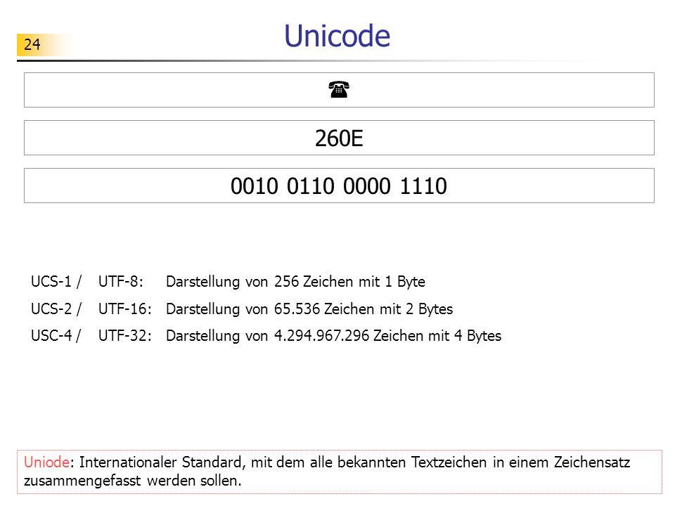 24 Unicode Uniode: Internationaler Standard, mit dem alle bekannten Textzeichen in einem Zeichensatz zusammengefasst werden sollen. UCS-1 / UTF-8: Dar