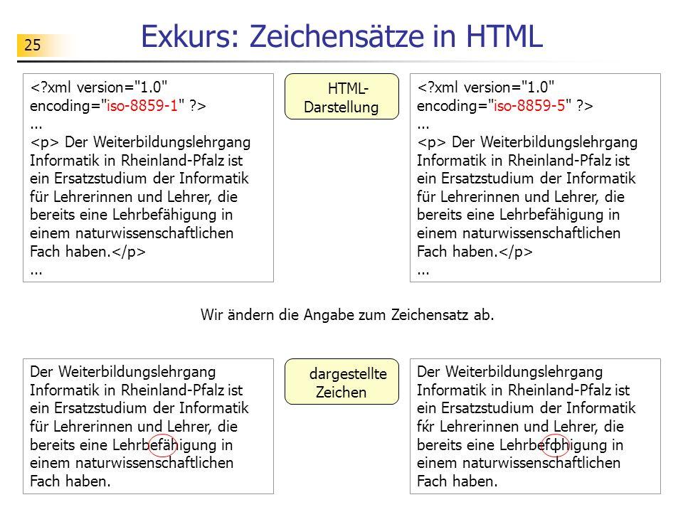 25 Exkurs: Zeichensätze in HTML Der Weiterbildungslehrgang Informatik in Rheinland-Pfalz ist ein Ersatzstudium der Informatik fќr Lehrerinnen und Lehr