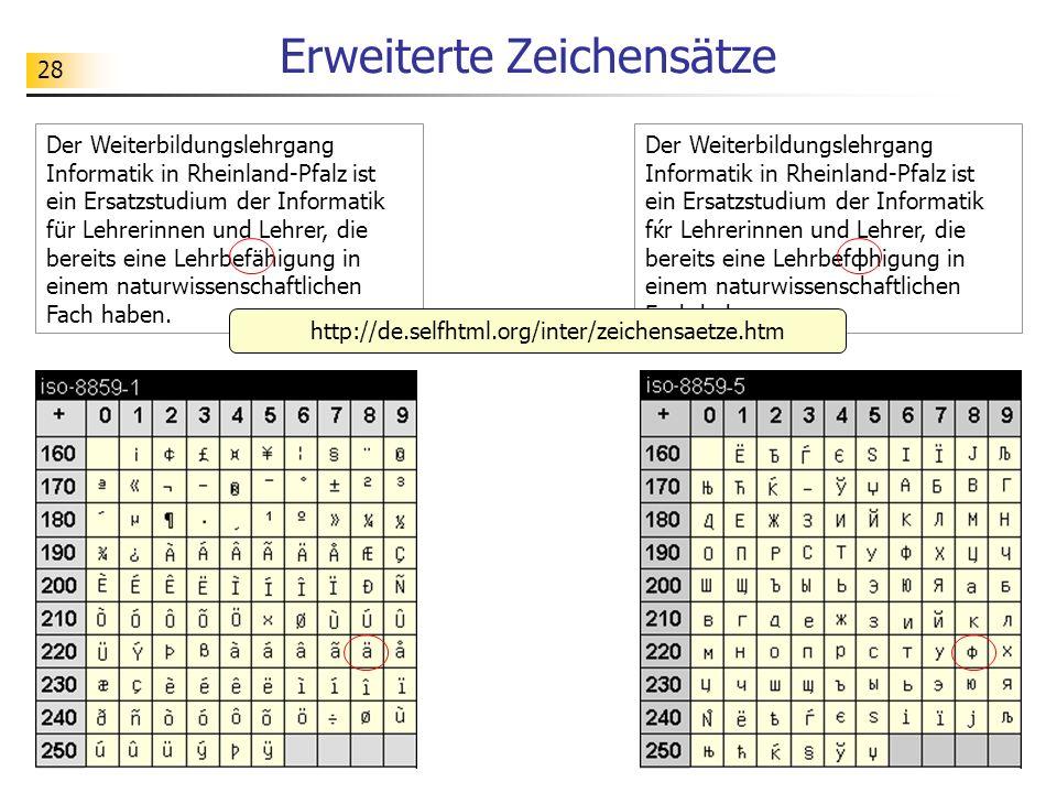 28 Erweiterte Zeichensätze Der Weiterbildungslehrgang Informatik in Rheinland-Pfalz ist ein Ersatzstudium der Informatik fќr Lehrerinnen und Lehrer, d