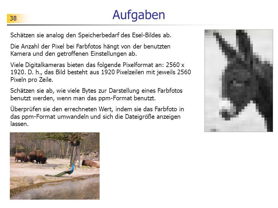 38 Aufgaben Schätzen sie analog den Speicherbedarf des Esel-Bildes ab. Die Anzahl der Pixel bei Farbfotos hängt von der benutzten Kamera und den getro