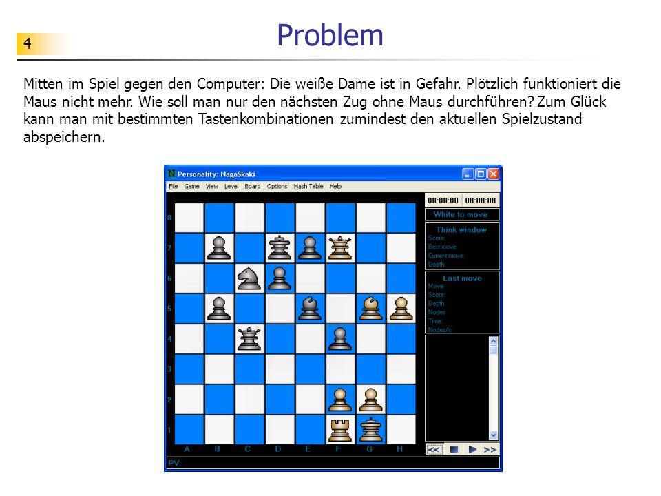 4 Problem Mitten im Spiel gegen den Computer: Die weiße Dame ist in Gefahr. Plötzlich funktioniert die Maus nicht mehr. Wie soll man nur den nächsten