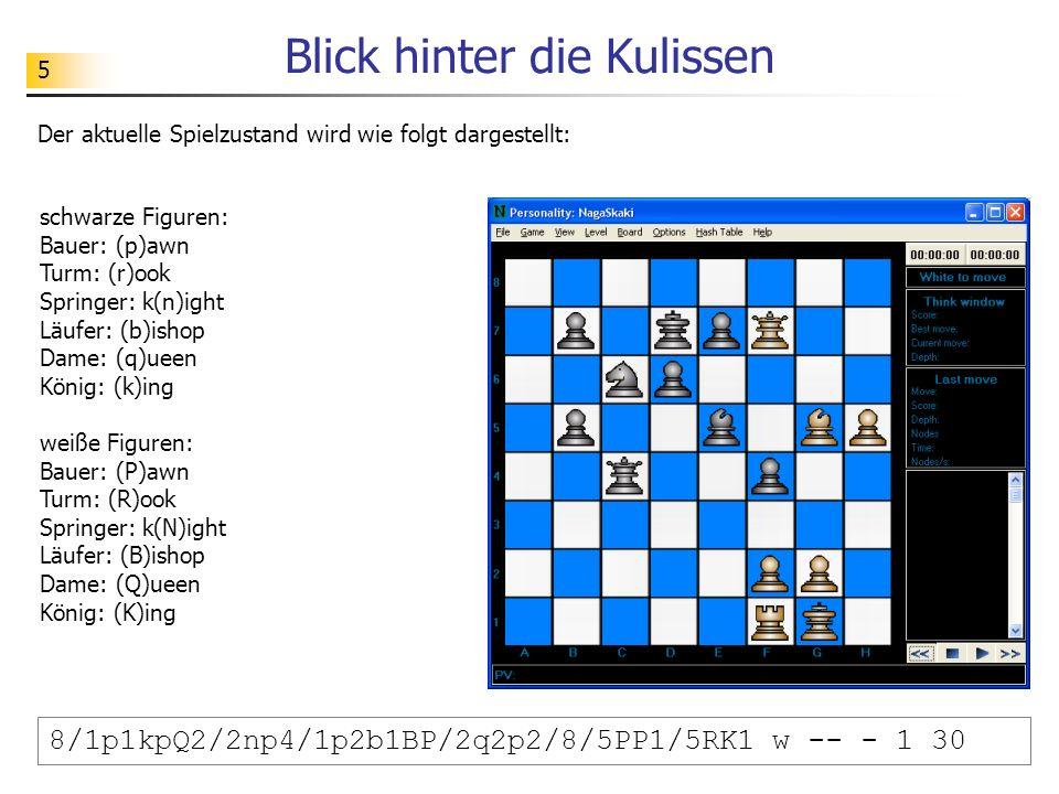 5 Blick hinter die Kulissen 8/1p1kpQ2/2np4/1p2b1BP/2q2p2/8/5PP1/5RK1 w -- - 1 30 schwarze Figuren: Bauer: (p)awn Turm: (r)ook Springer: k(n)ight Läufe