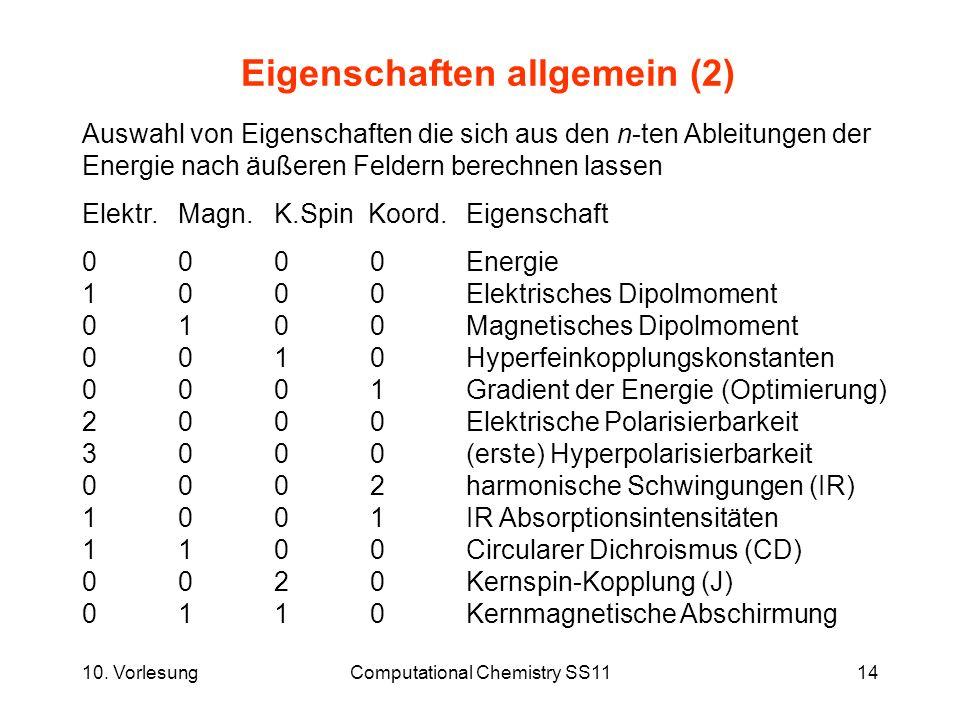 10. VorlesungComputational Chemistry SS1114 Eigenschaften allgemein (2) Auswahl von Eigenschaften die sich aus den n-ten Ableitungen der Energie nach