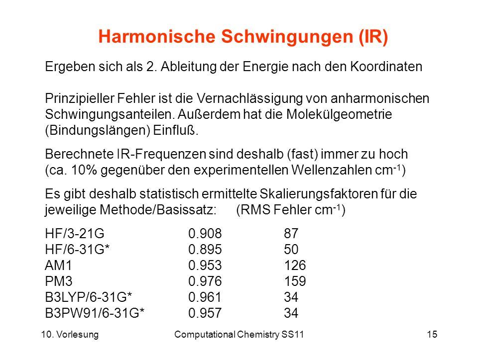10. VorlesungComputational Chemistry SS1115 Harmonische Schwingungen (IR) Ergeben sich als 2. Ableitung der Energie nach den Koordinaten Prinzipieller