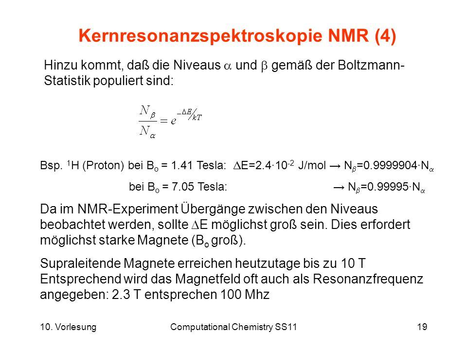 10. VorlesungComputational Chemistry SS1119 Kernresonanzspektroskopie NMR (4) Hinzu kommt, daß die Niveaus und gemäß der Boltzmann- Statistik populier