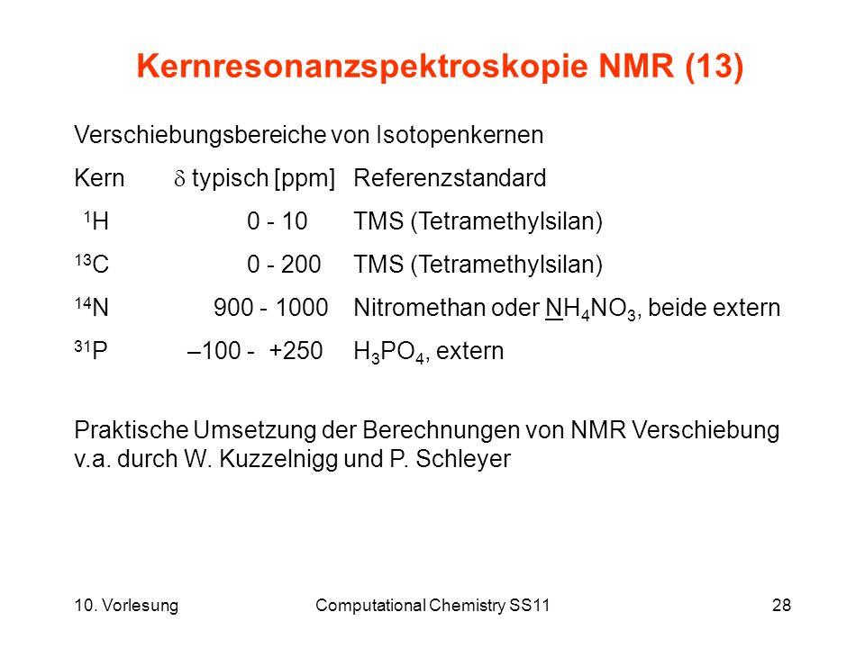 10. VorlesungComputational Chemistry SS1128 Kernresonanzspektroskopie NMR (13) Verschiebungsbereiche von Isotopenkernen Kern typisch [ppm] Referenzsta