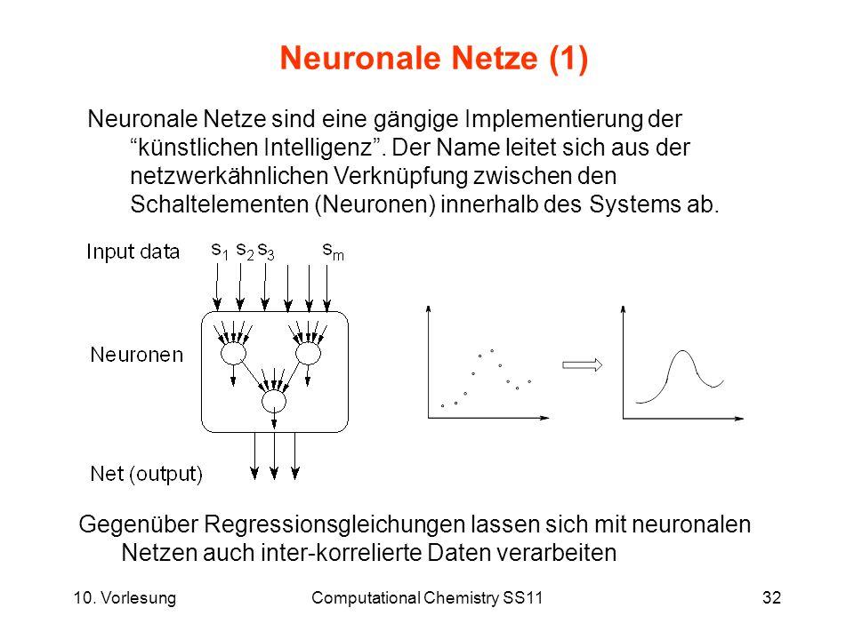 10. VorlesungComputational Chemistry SS1132 Neuronale Netze (1) Gegenüber Regressionsgleichungen lassen sich mit neuronalen Netzen auch inter-korrelie