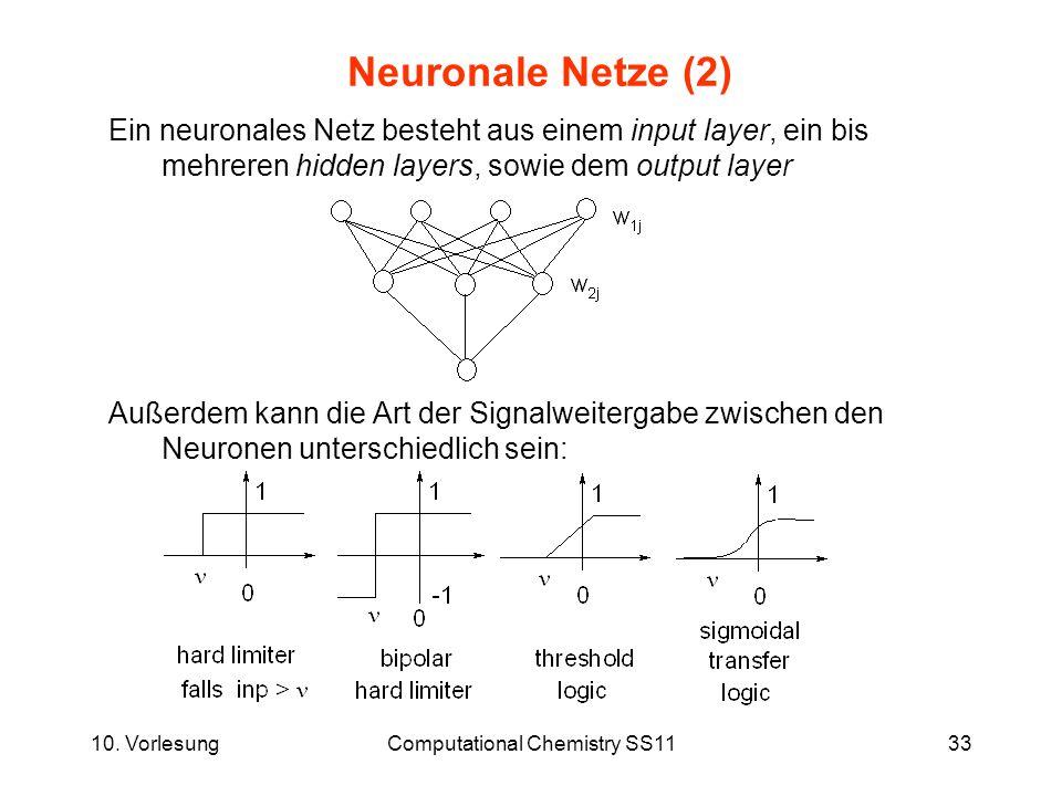 10. VorlesungComputational Chemistry SS1133 Neuronale Netze (2) Außerdem kann die Art der Signalweitergabe zwischen den Neuronen unterschiedlich sein:
