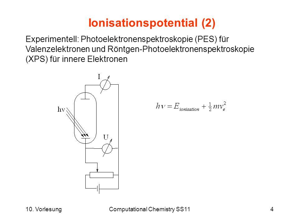 10. VorlesungComputational Chemistry SS114 Ionisationspotential (2) Experimentell: Photoelektronenspektroskopie (PES) für Valenzelektronen und Röntgen