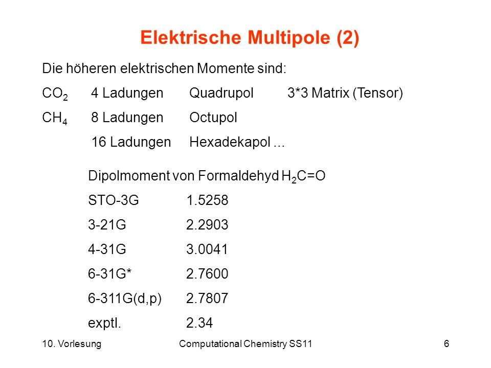 10. VorlesungComputational Chemistry SS116 Elektrische Multipole (2) Die höheren elektrischen Momente sind: CO 2 4 LadungenQuadrupol3*3 Matrix (Tensor