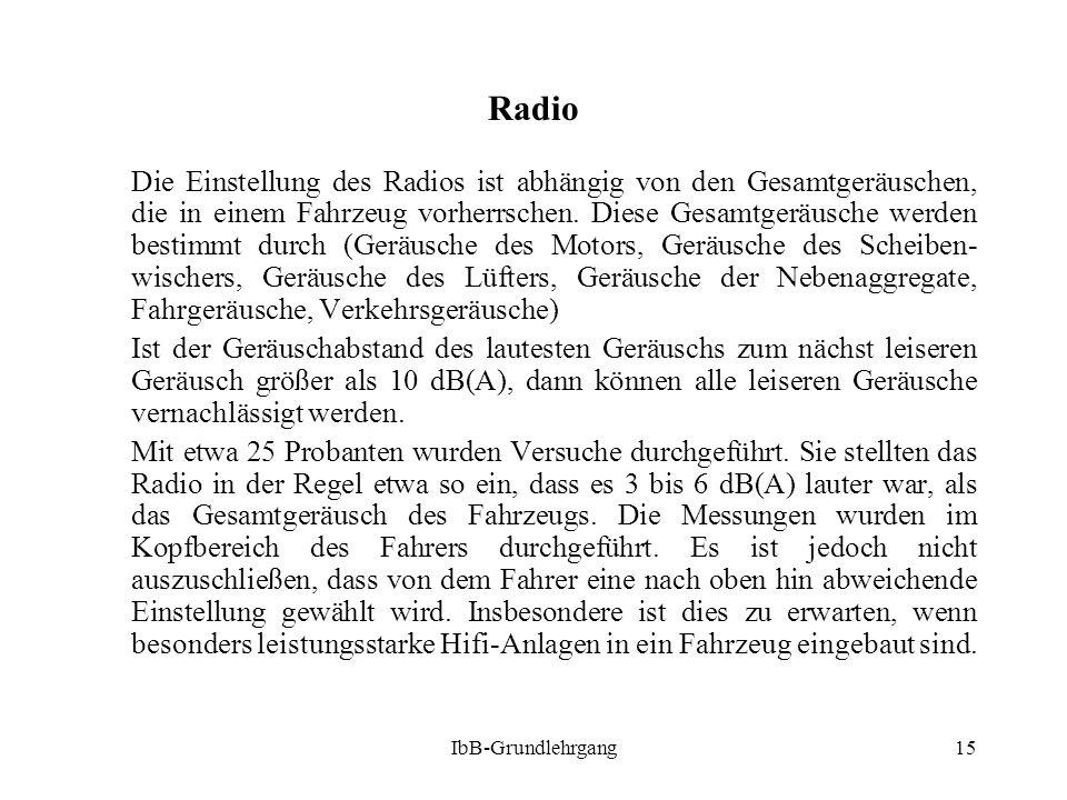 IbB-Grundlehrgang15 Radio Die Einstellung des Radios ist abhängig von den Gesamtgeräuschen, die in einem Fahrzeug vorherrschen. Diese Gesamtgeräusche
