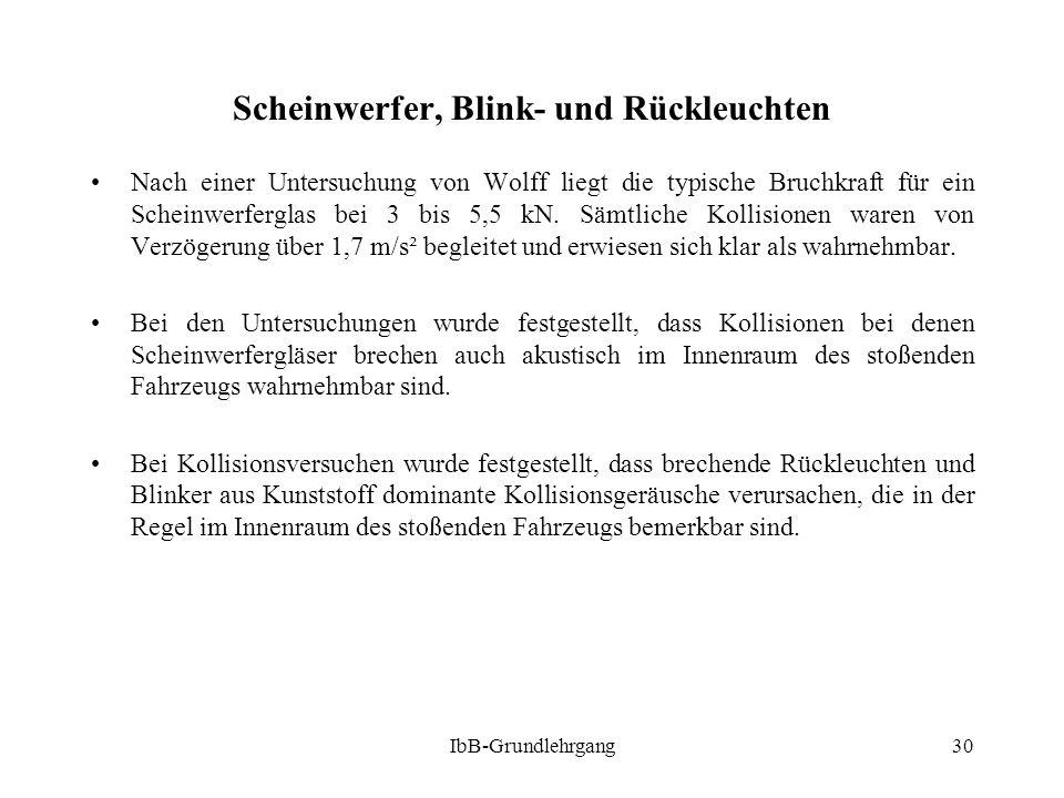 IbB-Grundlehrgang30 Scheinwerfer, Blink- und Rückleuchten Nach einer Untersuchung von Wolff liegt die typische Bruchkraft für ein Scheinwerferglas bei