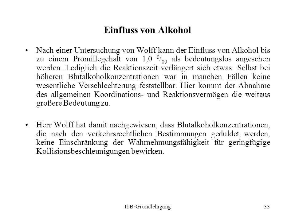 IbB-Grundlehrgang33 Einfluss von Alkohol Nach einer Untersuchung von Wolff kann der Einfluss von Alkohol bis zu einem Promillegehalt von 1,0 0 / 00 al