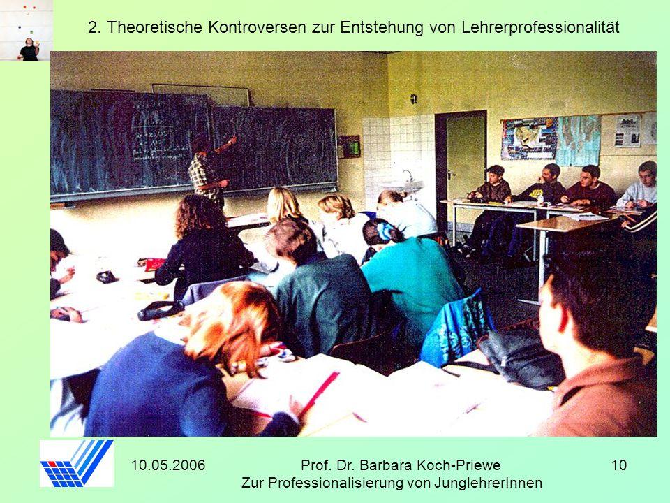 10.05.2006Prof. Dr. Barbara Koch-Priewe Zur Professionalisierung von JunglehrerInnen 10 2. Theoretische Kontroversen zur Entstehung von Lehrerprofessi