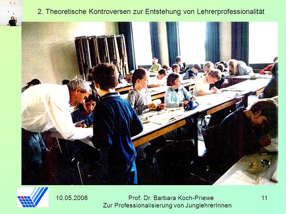 10.05.2006Prof. Dr. Barbara Koch-Priewe Zur Professionalisierung von JunglehrerInnen 11 2. Theoretische Kontroversen zur Entstehung von Lehrerprofessi