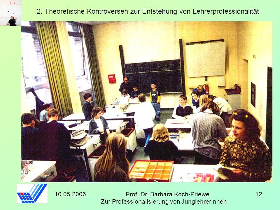 10.05.2006Prof. Dr. Barbara Koch-Priewe Zur Professionalisierung von JunglehrerInnen 12 2. Theoretische Kontroversen zur Entstehung von Lehrerprofessi