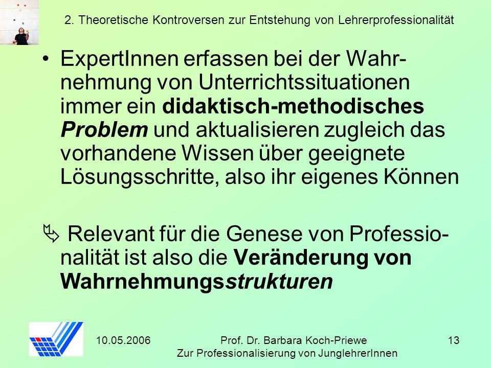 10.05.2006Prof. Dr. Barbara Koch-Priewe Zur Professionalisierung von JunglehrerInnen 13 2. Theoretische Kontroversen zur Entstehung von Lehrerprofessi
