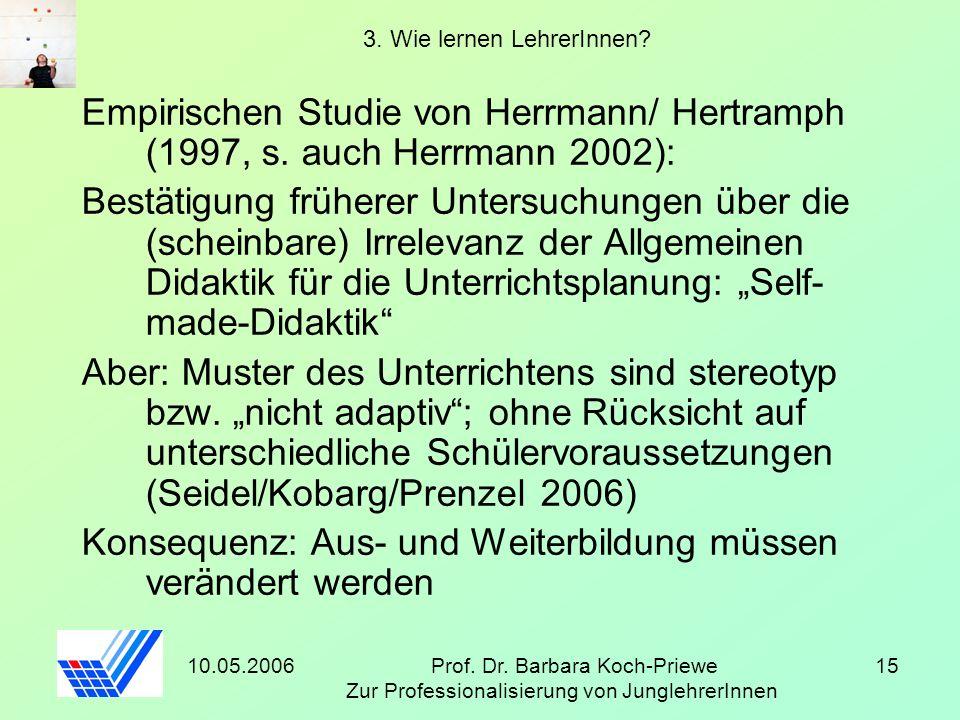 10.05.2006Prof. Dr. Barbara Koch-Priewe Zur Professionalisierung von JunglehrerInnen 15 3. Wie lernen LehrerInnen? Empirischen Studie von Herrmann/ He