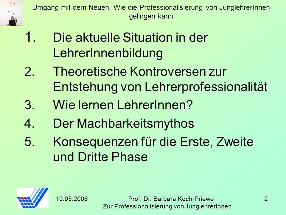10.05.2006Prof. Dr. Barbara Koch-Priewe Zur Professionalisierung von JunglehrerInnen 2 Umgang mit dem Neuen. Wie die Professionalisierung von Junglehr