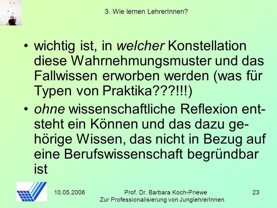 10.05.2006Prof. Dr. Barbara Koch-Priewe Zur Professionalisierung von JunglehrerInnen 23 3. Wie lernen LehrerInnen? wichtig ist, in welcher Konstellati