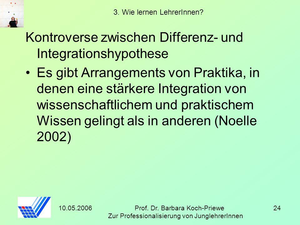 10.05.2006Prof. Dr. Barbara Koch-Priewe Zur Professionalisierung von JunglehrerInnen 24 3. Wie lernen LehrerInnen? Kontroverse zwischen Differenz- und
