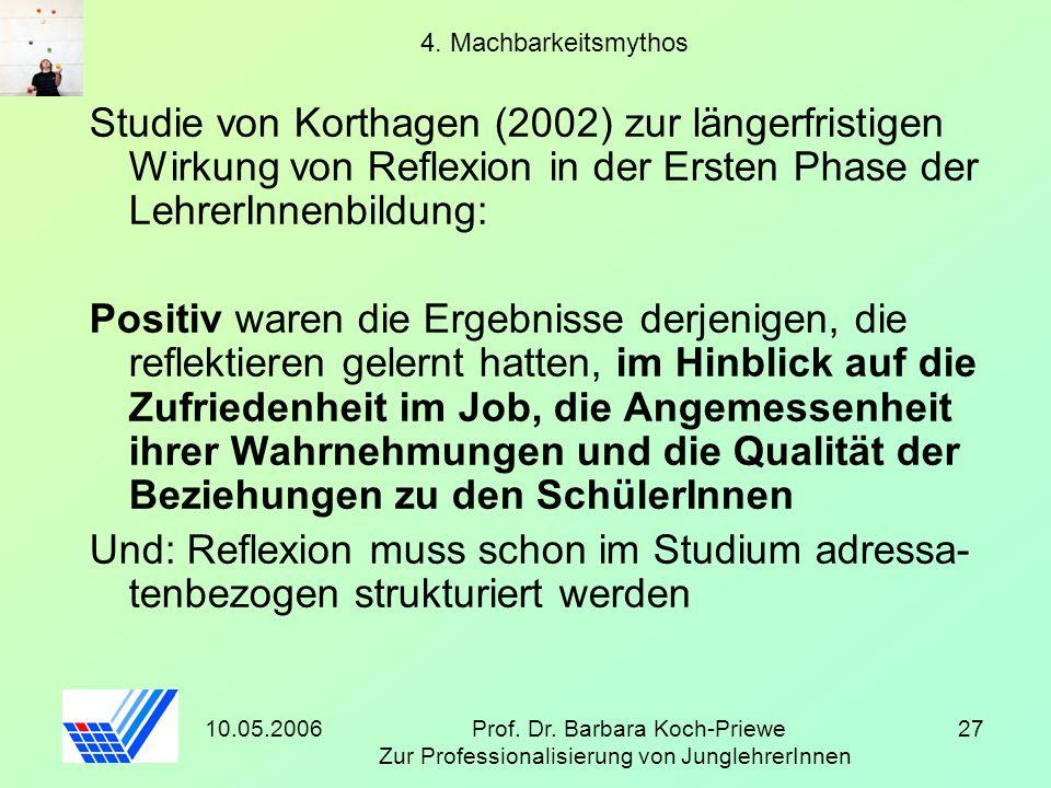 10.05.2006Prof. Dr. Barbara Koch-Priewe Zur Professionalisierung von JunglehrerInnen 27 4. Machbarkeitsmythos Studie von Korthagen (2002) zur längerfr