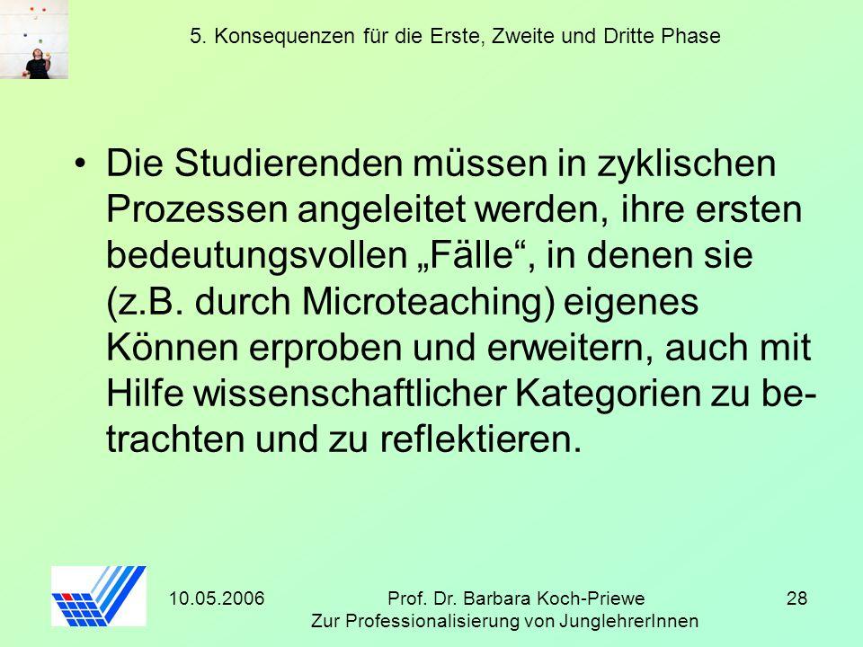 10.05.2006Prof. Dr. Barbara Koch-Priewe Zur Professionalisierung von JunglehrerInnen 28 5. Konsequenzen für die Erste, Zweite und Dritte Phase Die Stu