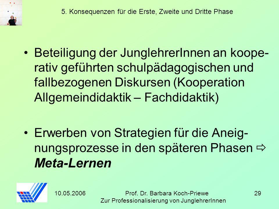 10.05.2006Prof. Dr. Barbara Koch-Priewe Zur Professionalisierung von JunglehrerInnen 29 5. Konsequenzen für die Erste, Zweite und Dritte Phase Beteili