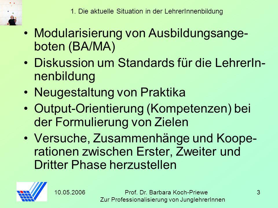 10.05.2006Prof. Dr. Barbara Koch-Priewe Zur Professionalisierung von JunglehrerInnen 3 1. Die aktuelle Situation in der LehrerInnenbildung Modularisie