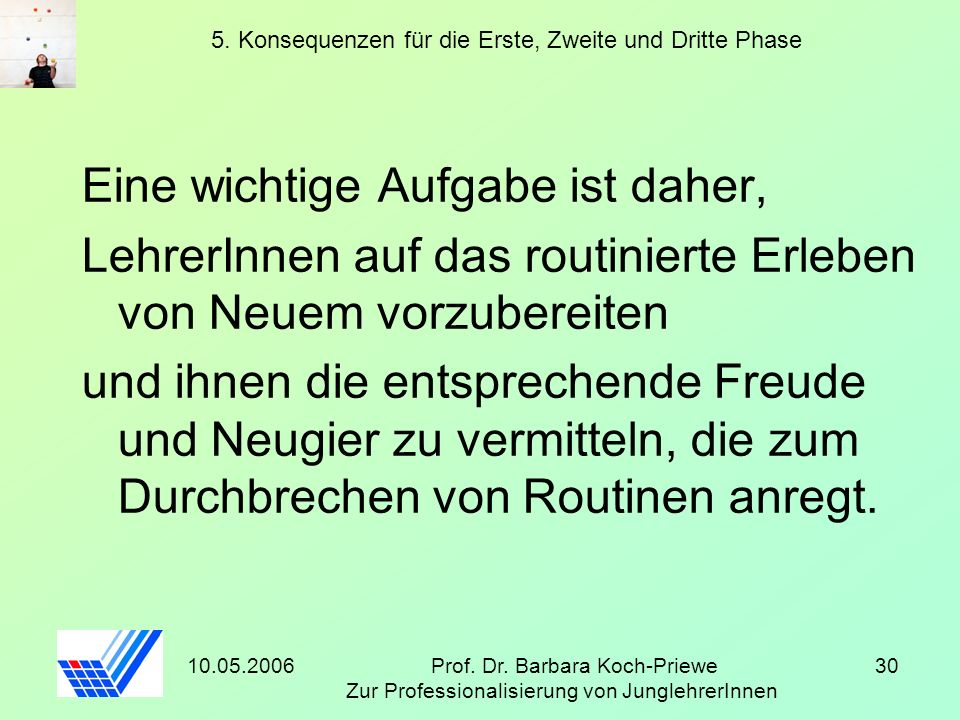 10.05.2006Prof. Dr. Barbara Koch-Priewe Zur Professionalisierung von JunglehrerInnen 30 5. Konsequenzen für die Erste, Zweite und Dritte Phase Eine wi