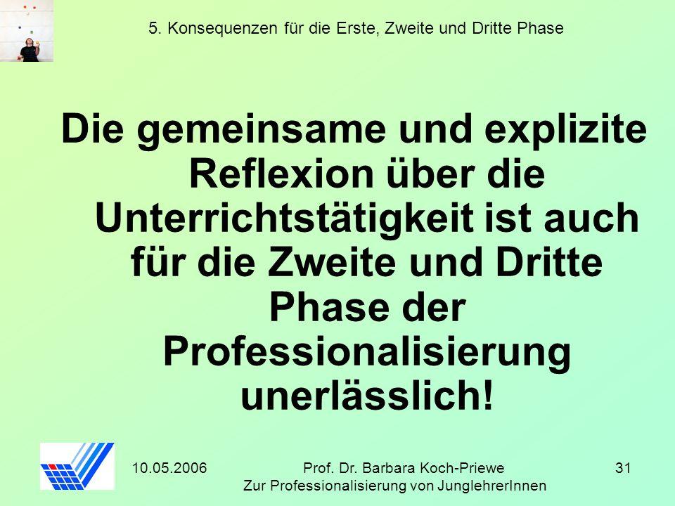 10.05.2006Prof. Dr. Barbara Koch-Priewe Zur Professionalisierung von JunglehrerInnen 31 5. Konsequenzen für die Erste, Zweite und Dritte Phase Die gem