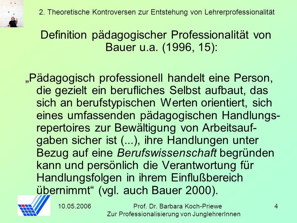 10.05.2006Prof. Dr. Barbara Koch-Priewe Zur Professionalisierung von JunglehrerInnen 4 2. Theoretische Kontroversen zur Entstehung von Lehrerprofessio