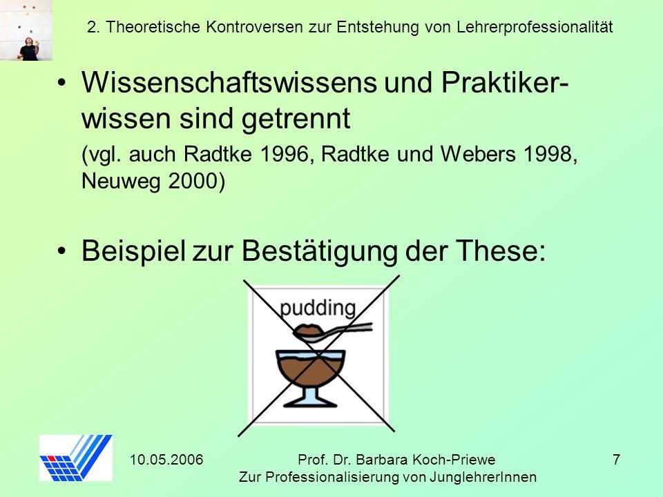 10.05.2006Prof. Dr. Barbara Koch-Priewe Zur Professionalisierung von JunglehrerInnen 7 2. Theoretische Kontroversen zur Entstehung von Lehrerprofessio